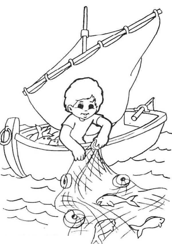 Fisherman Coloring Pages For Your Kids Fish nets