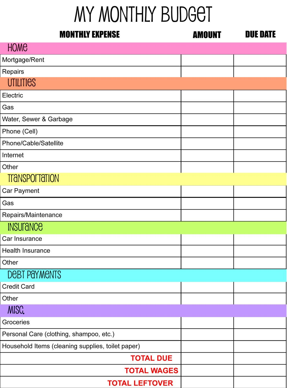 Free Printable Monthly Budget Worksheet  Journal Craft