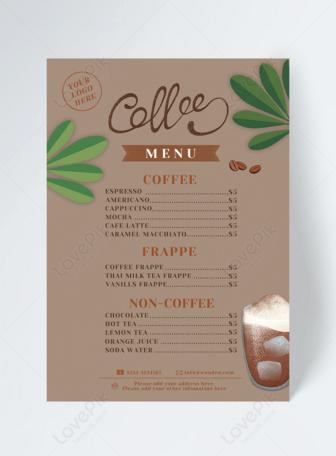 Plant Leaf Cafe Menu Design Cafe Menu Design Menu Design Cafe Menu
