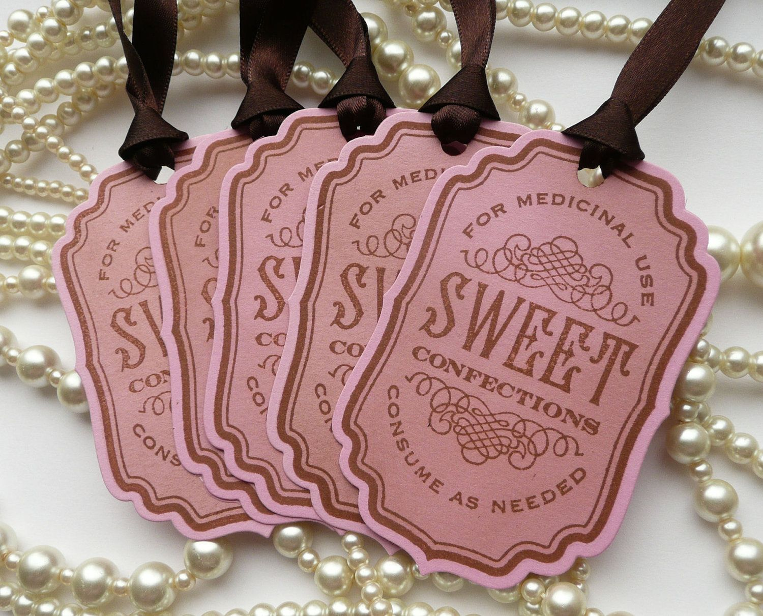 Sweet Confections Tags - Pink and Brown vintage appearance labels ...