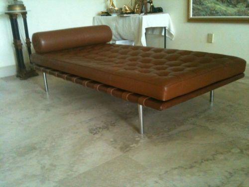 Mid Century Modern Vintage Mies Van Der Rohe Barcelona Leather
