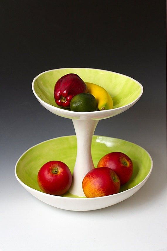 Large Green and White 2 Tiered Fruit Serving or by VitreousWares - LoveItSoMuch.com