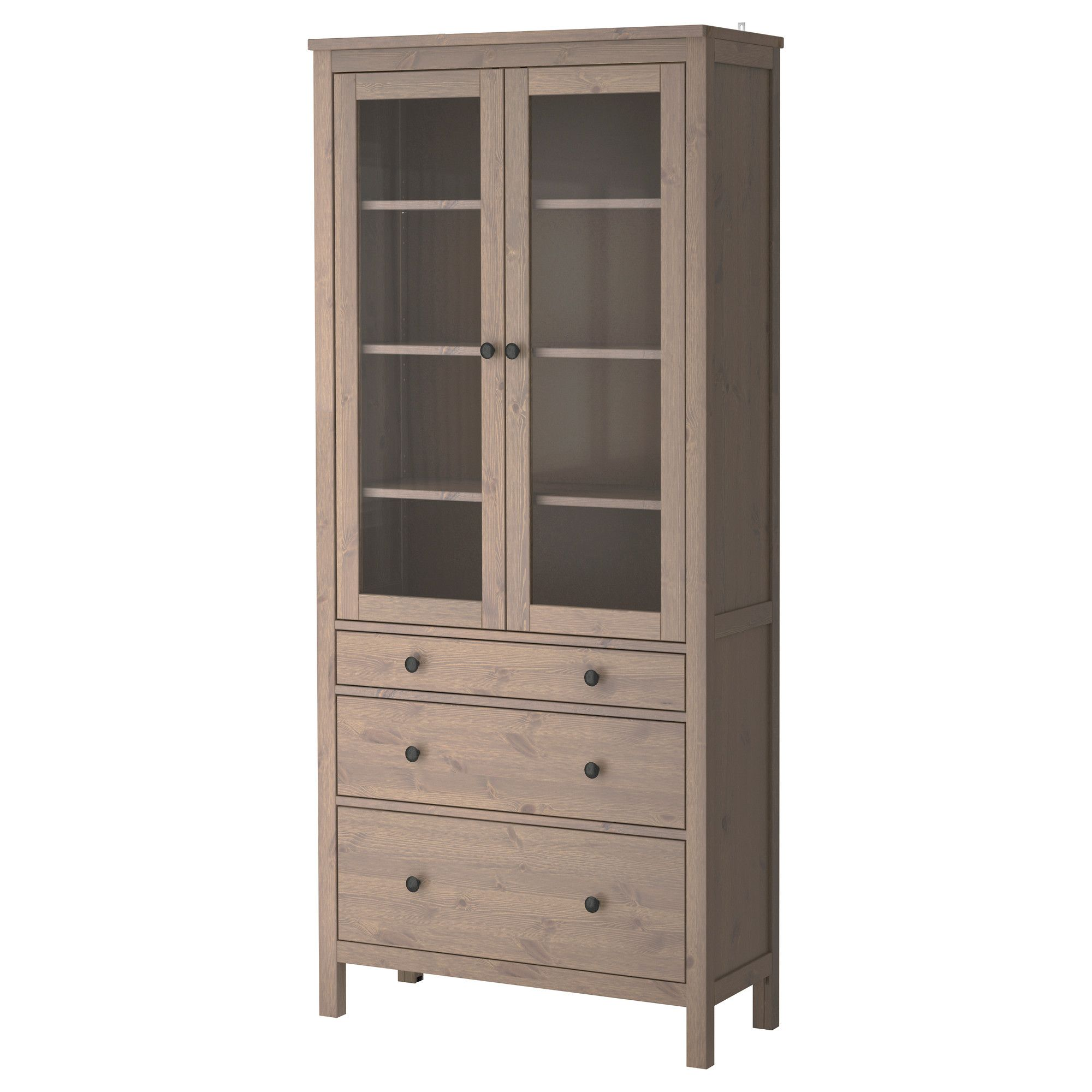 hemnes glass-door cabinet with 3 drawers - gray-brown - ikea - 14, Wohnzimmer