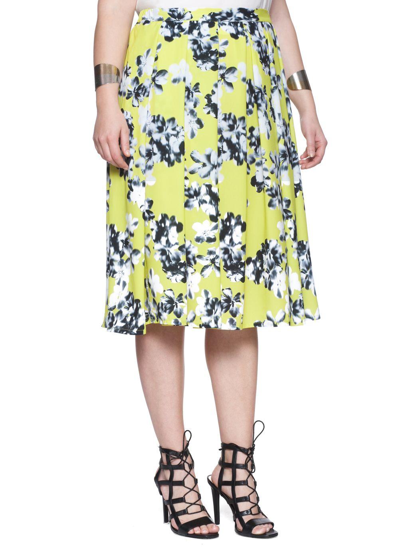 bd87d4c77d428 Eloquii Printed Soft Midi Skirt - Floral (Plus Size) Plus Size Skirts
