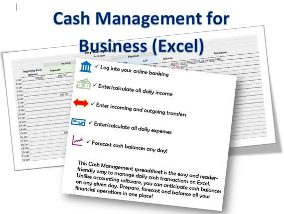 Cash Management Excel Template for Business Pinterest Cash