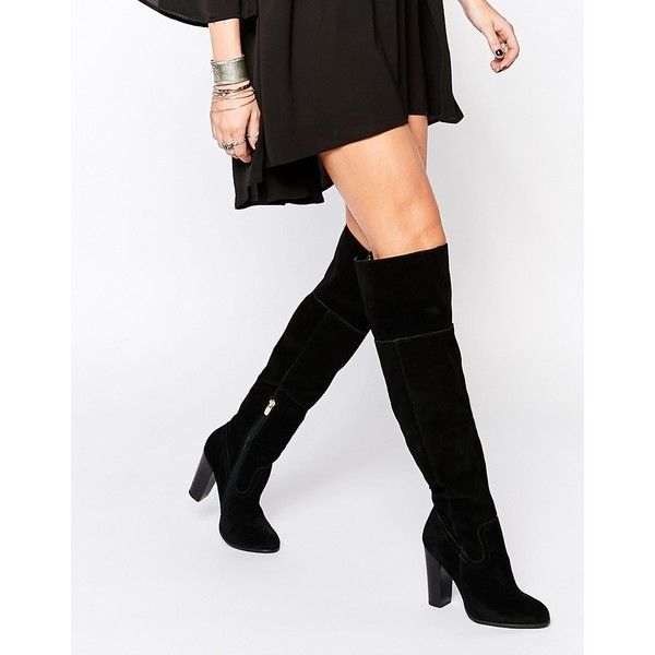 Aldo Bove Black Suede Block Heeled Over The Knee Boots 635 Pen Liked On Polyvore Featuring Shoes Boots Black Suede Hi Suede Block Heels Knee Boots Boots