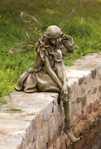 Thoughtful Lady Fairy Statue By Outdoor Decor 149 99 Painted Resin A Unique And Fun Gift For Anyone Who Loves The Fairy Statues Fairy Garden Garden Statues