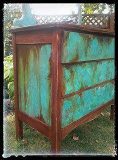 Sk S Copper Patina And Oak Bath Vanity Painted Garden