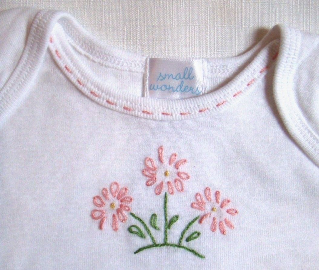 triplet daisy onesie hand embroidered etsy