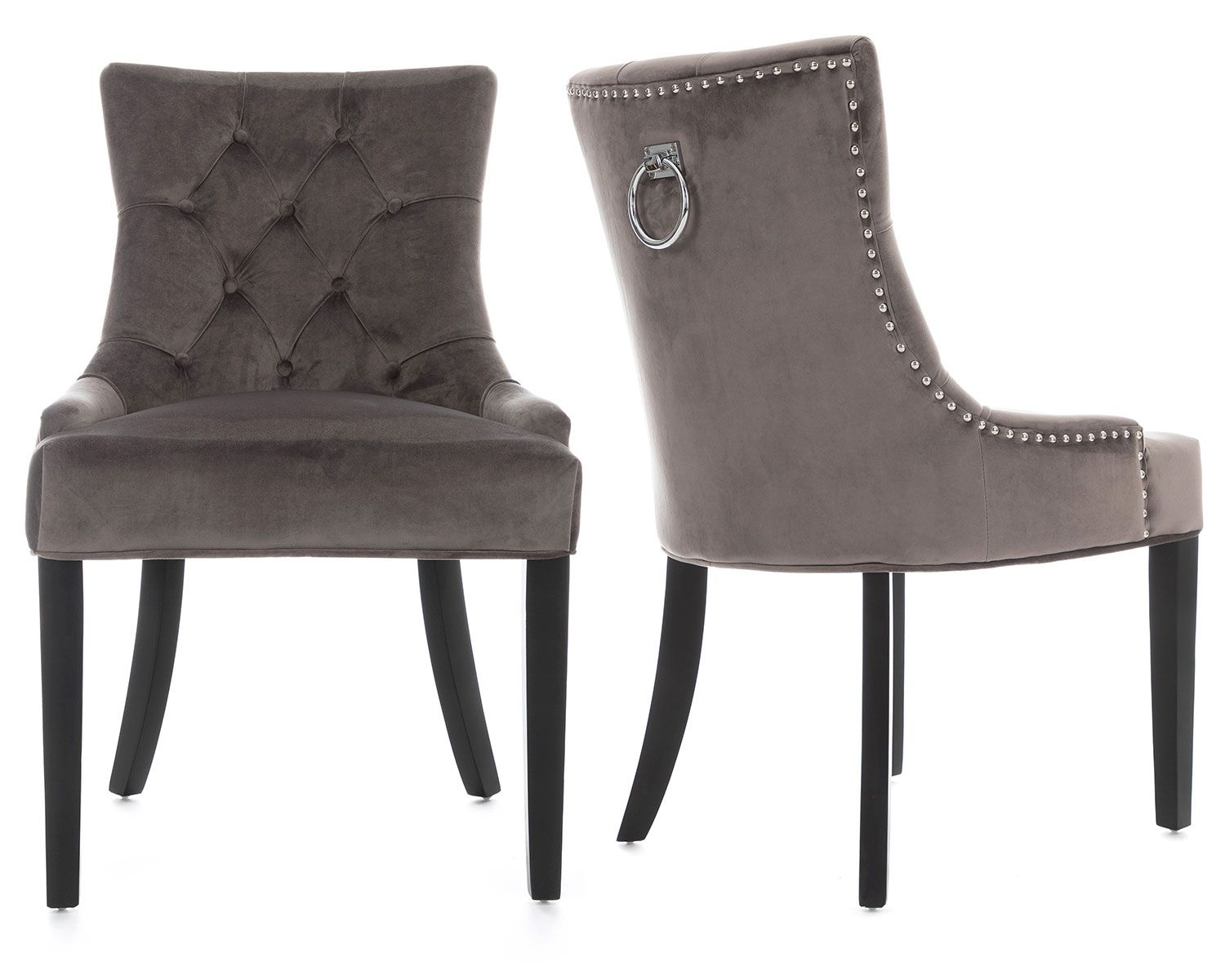 Verona Dining Chair In Grey Velvet With Chrome Knocker And Black