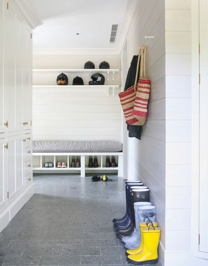 Helmets On High Shelf Of Mudroom During Times Of Infrequent Use Via Houzz Beach Style Entry By Wettling Architects Mudroom Mudroom Cabinets Built In Lockers
