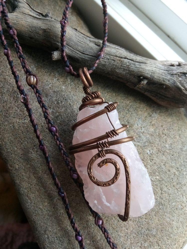 Quartz and Copper Wire Wrapped Pendant