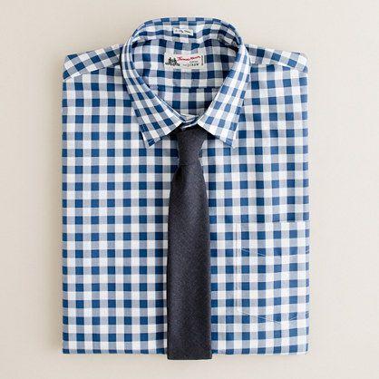 Thomas Mason® fabric point-collar dress shirt in gingham