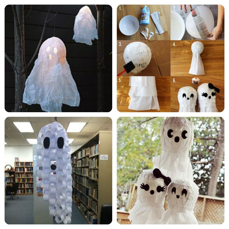 Fantasmas De Papel Cultura Diy Fantasmas De Halloween Fantasmas Artesanía De Halloween