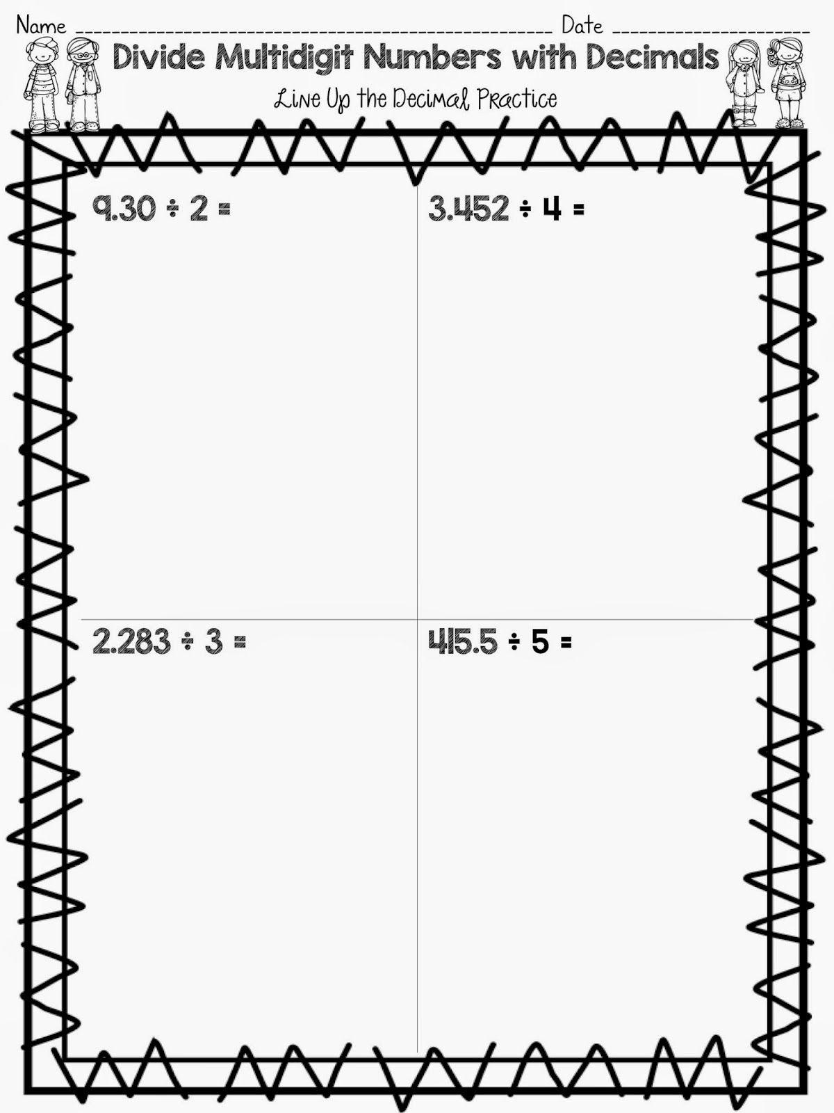 Free Dividing Decimals Worksheets