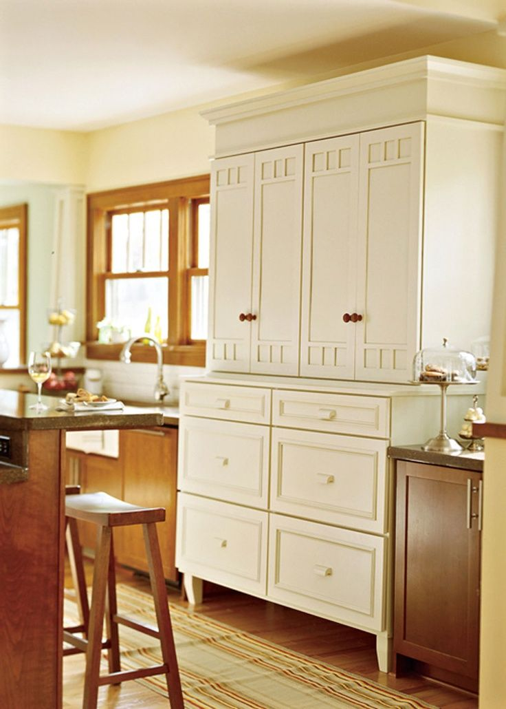 Hutch created from stock cabinetry adds valuable storage space in ...