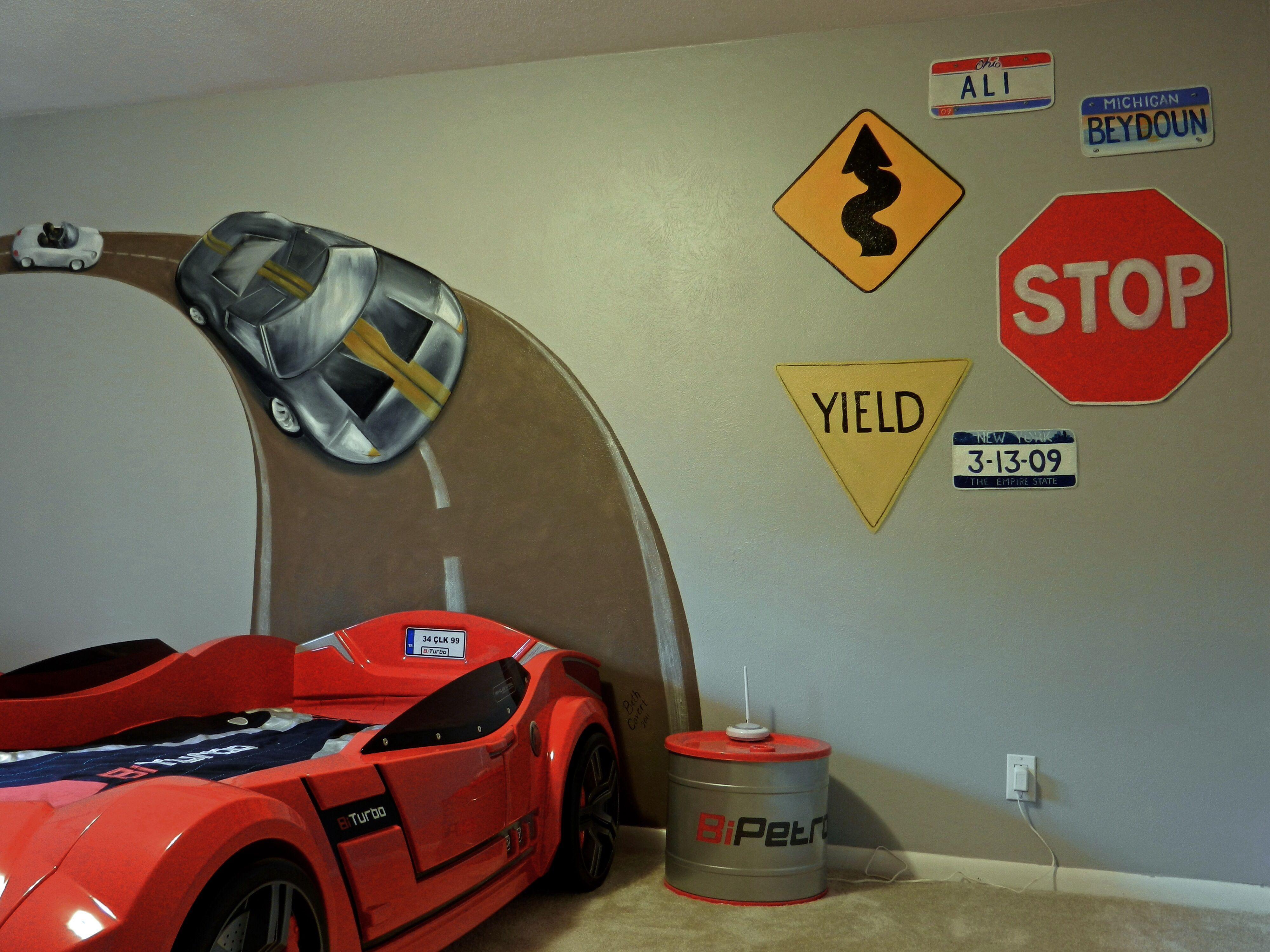 Boys car bedroom ideas - Race Track Wall Mural