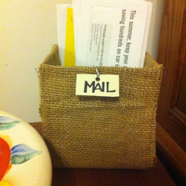 Small cardboard box covered in burlap!