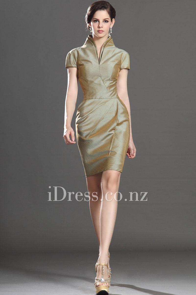 gold polish high neck dupioni cocktail dress | Cocktail Dresses NZ ...