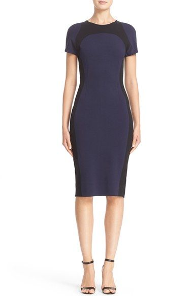 Free shipping and returns on St. John Collection Colorblock Sculpture Knit Dress at Nordstrom.com. Two-tone color blocking visually slims the figure in a short-sleeve sheath tailored with front and back waist darts to enhance the curve-flattering effect. The supple Italian fabric boasts the structure of a woven but maintains the comfort and stretch of a fine knit.