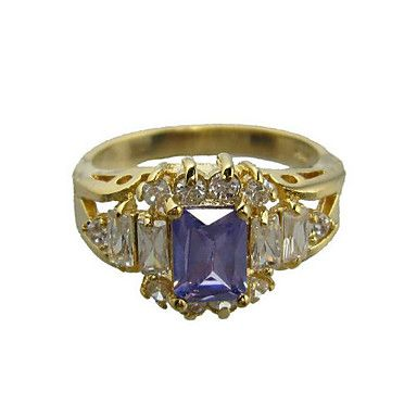 18K Gold Plated & Great Royal Cubic Zirconia Ladie's Fashion Ring(More Colors)