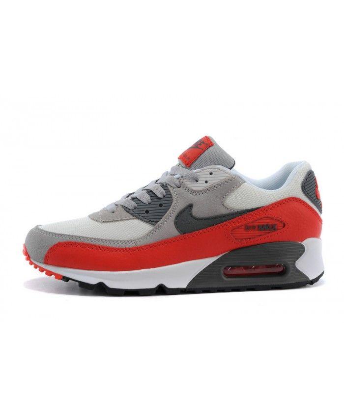Femme Nike Air Max 90 Blanc Gris Rouge Chaussures Les nouveaux modèles  reflètent la compréhension de
