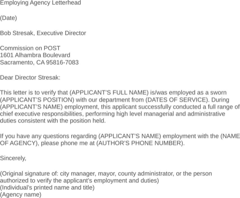 Sample Employment Verification Letter Places to Visit