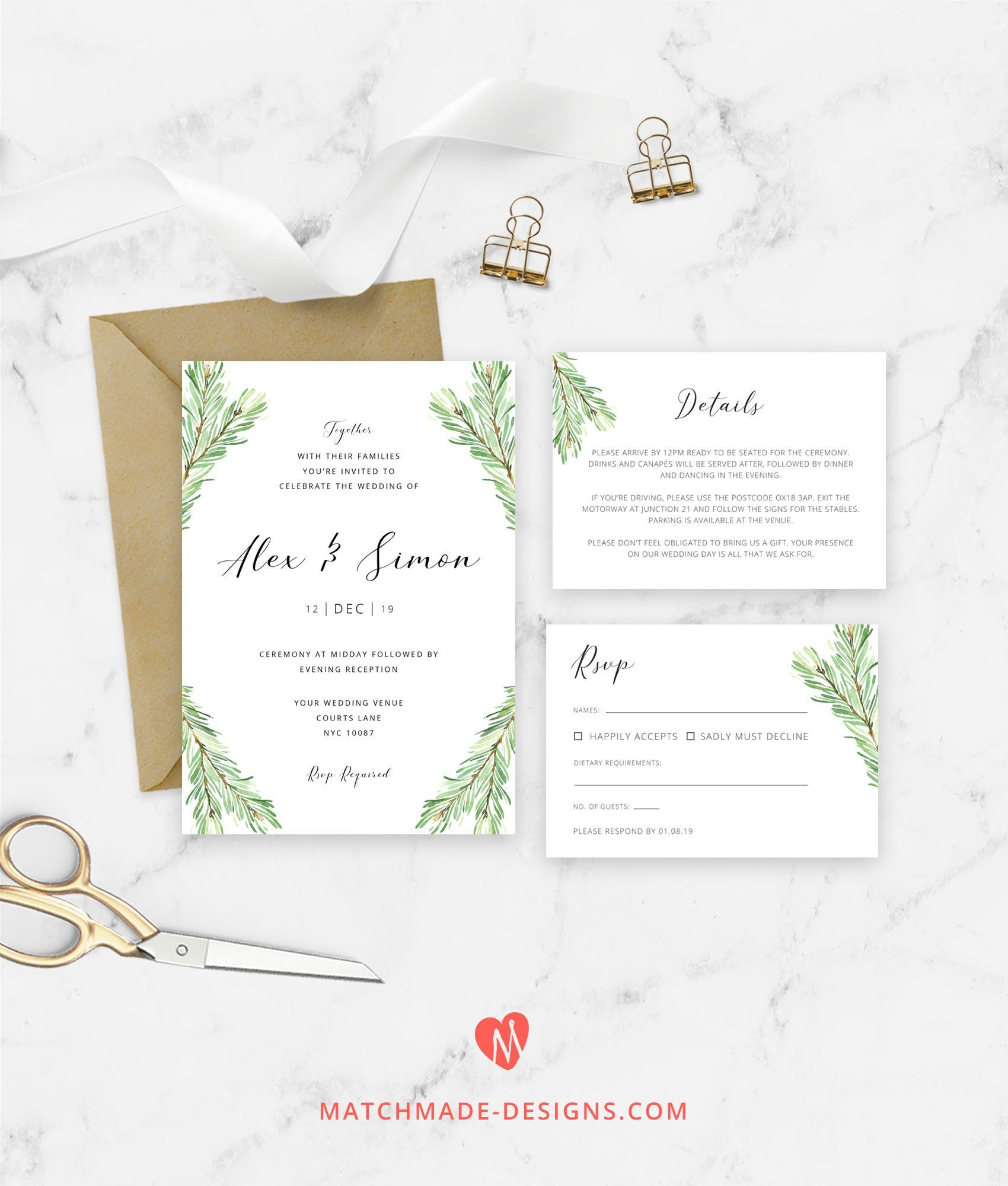 Pine Wedding Invitation Template Greenery Invite