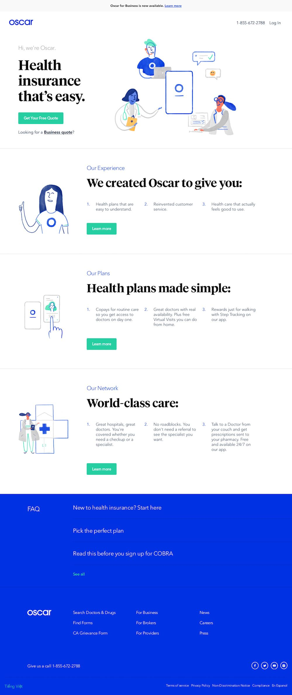 Home Page For Oscar Smart Simple Health Insurance Landing