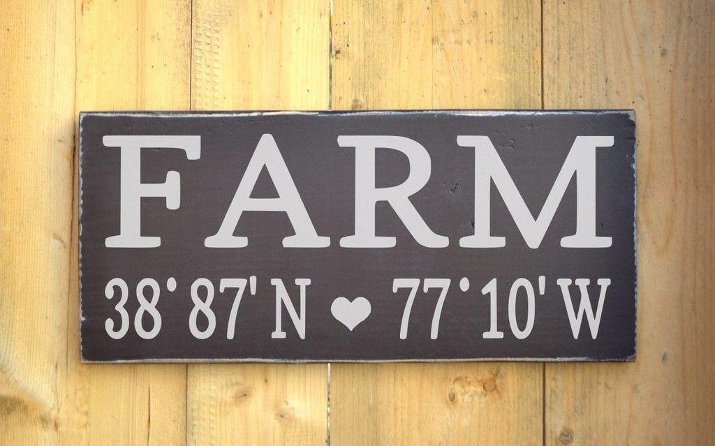 Personalized Farm House Home Wood Sign Longitude