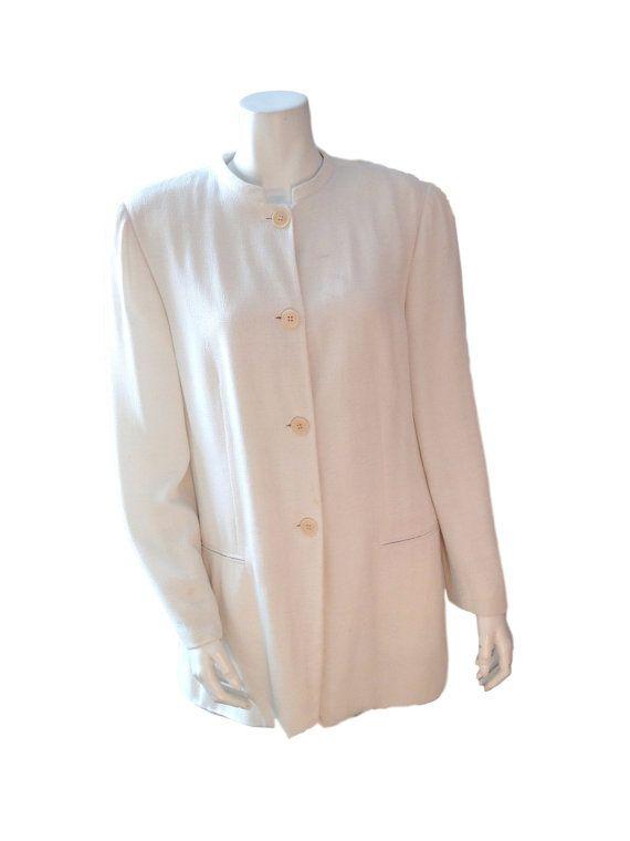 Giorgio Armani Le Colleziono White Textured Blazer by LaCroisette
