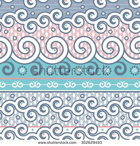 Vector Seamless Twirl Items Pattern. Endless Stylish Background for Textile Design