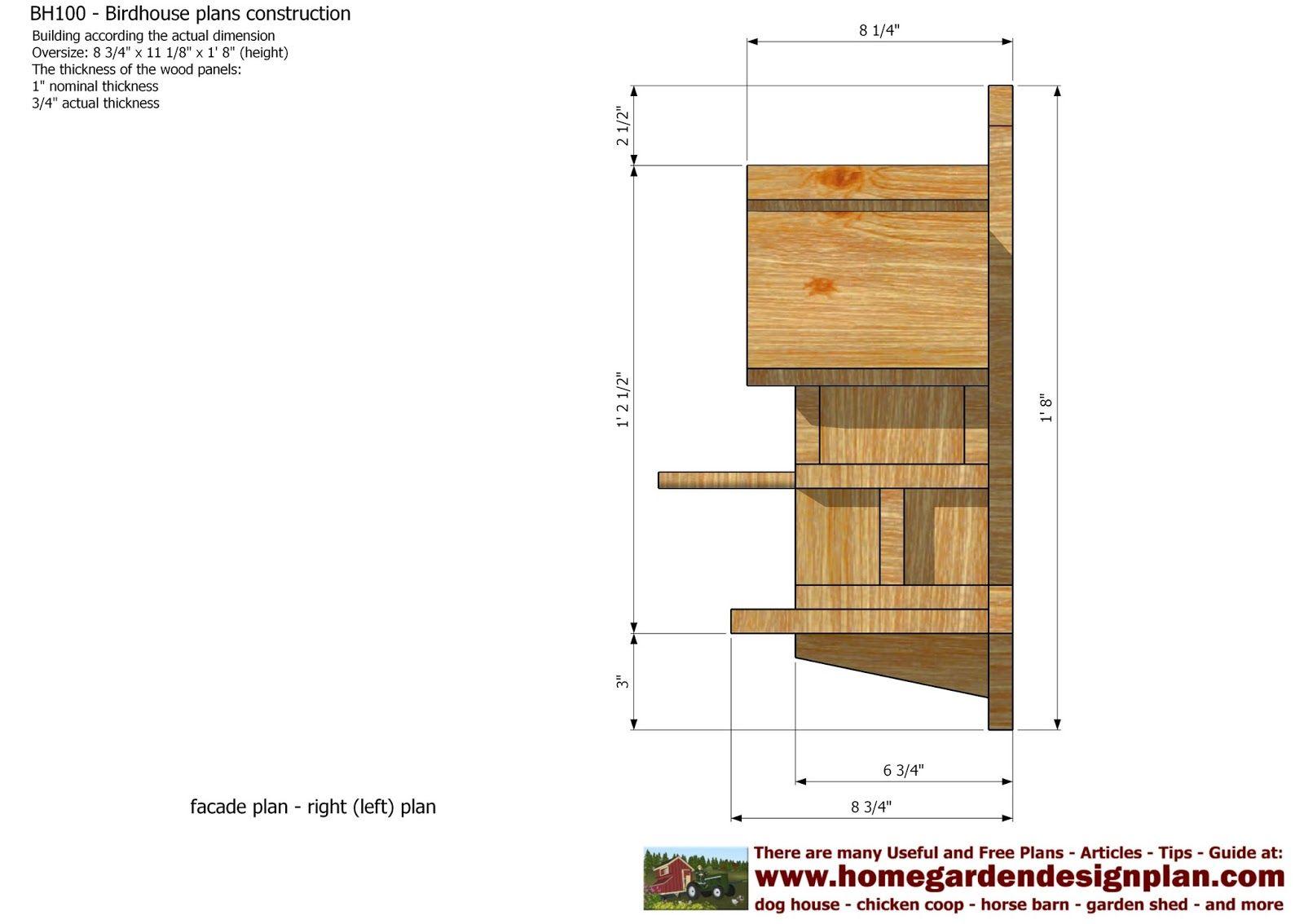home garden plans BH100 Bird House Plans Construction