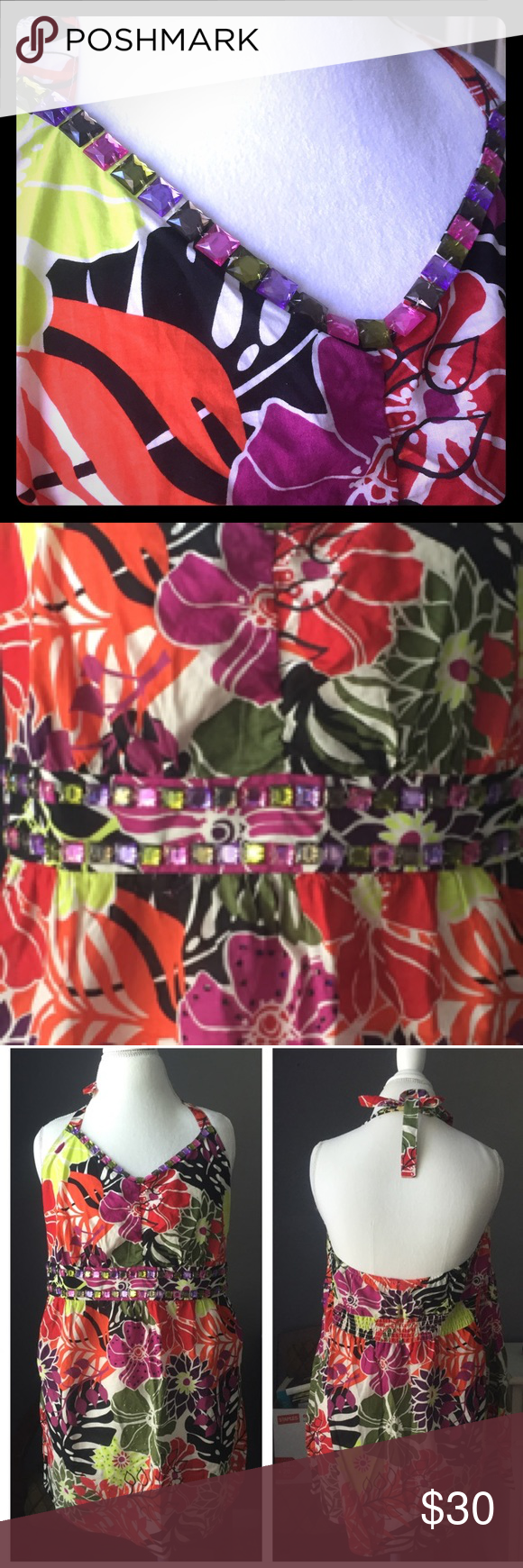Halter Top New with Tags, Beautiful multi colored brights for this Halter top.  Ties around back of neck. Has multiple colored rhinestones in V-neck and around waistline.  Never worn. No holes, or tears. Lane Bryant Tops Crop Tops