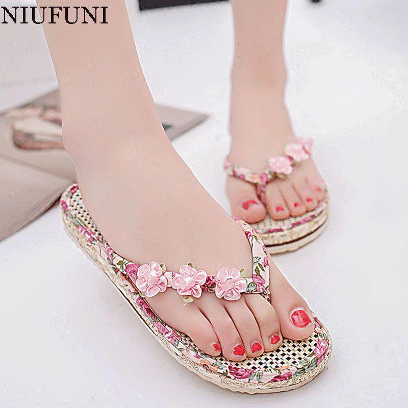Kstare Women SandalsWomen Boho Flip Flops Sandals Casual Wedge Clip Toe Beach Shoes