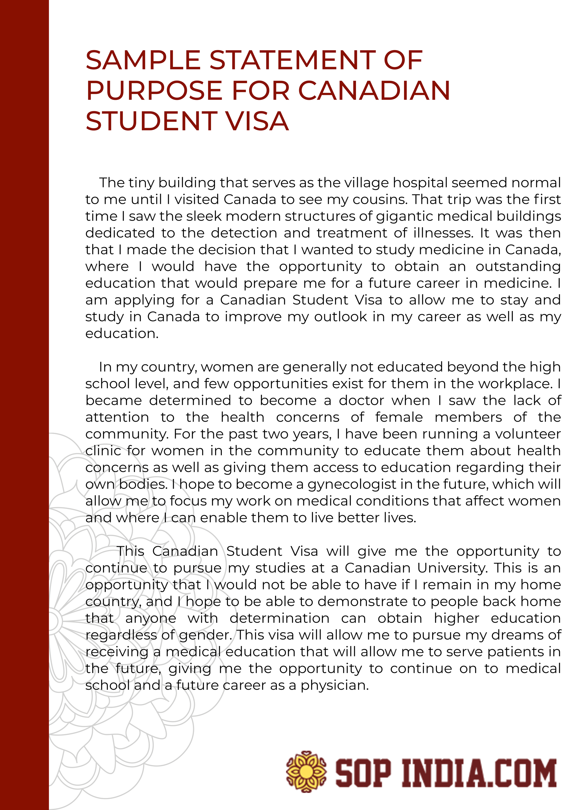 Sample statement of purpose for Canadian Visa that can