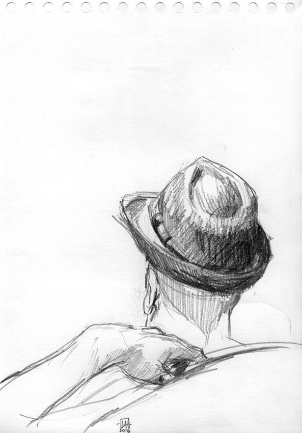 Mélanie Heller Illustration: Séance de croquis au café La Bricole / Le Chapeau