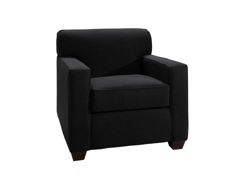 Contemporary transitional black fabric chair.