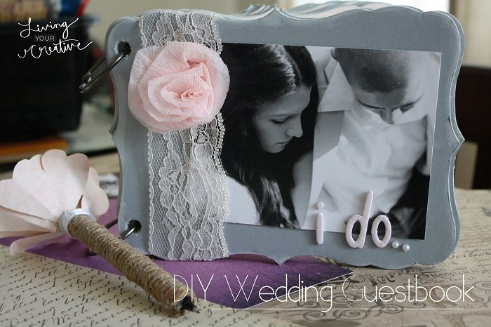 Make your own beautiful handmade DIY wedding guest book! See how at ...