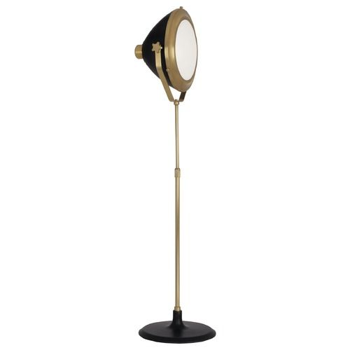 Mid century modern floor lamp brass black painted apollo by robert robert abbey apollo antique brass black paint floor lamp with bowl dome shade aloadofball Image collections