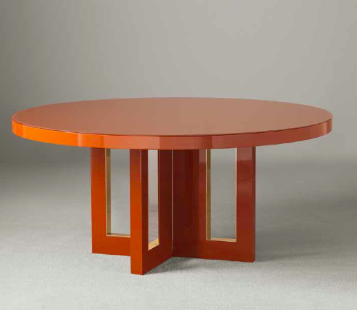 Tao Lacquered Table With Metal Insert Designed By Massimiliano
