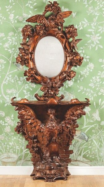 Italian Carved Walnut Console Table And Mirror, Ca1870 Italy.