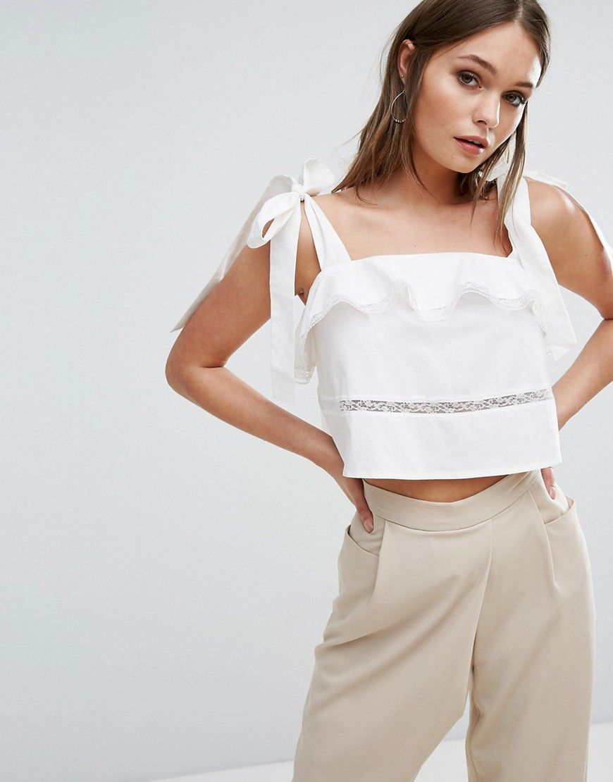 2d836448ac0a09 Boohoo Ruffle And Lace Tiered Tie Shoulder Crop Top - White ...