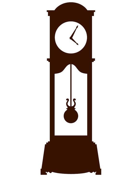 grandfather clock wall decal custom vinyl art by danadecals rh pinterest com grandfather clock clip art public domain grandfather clock clip art free