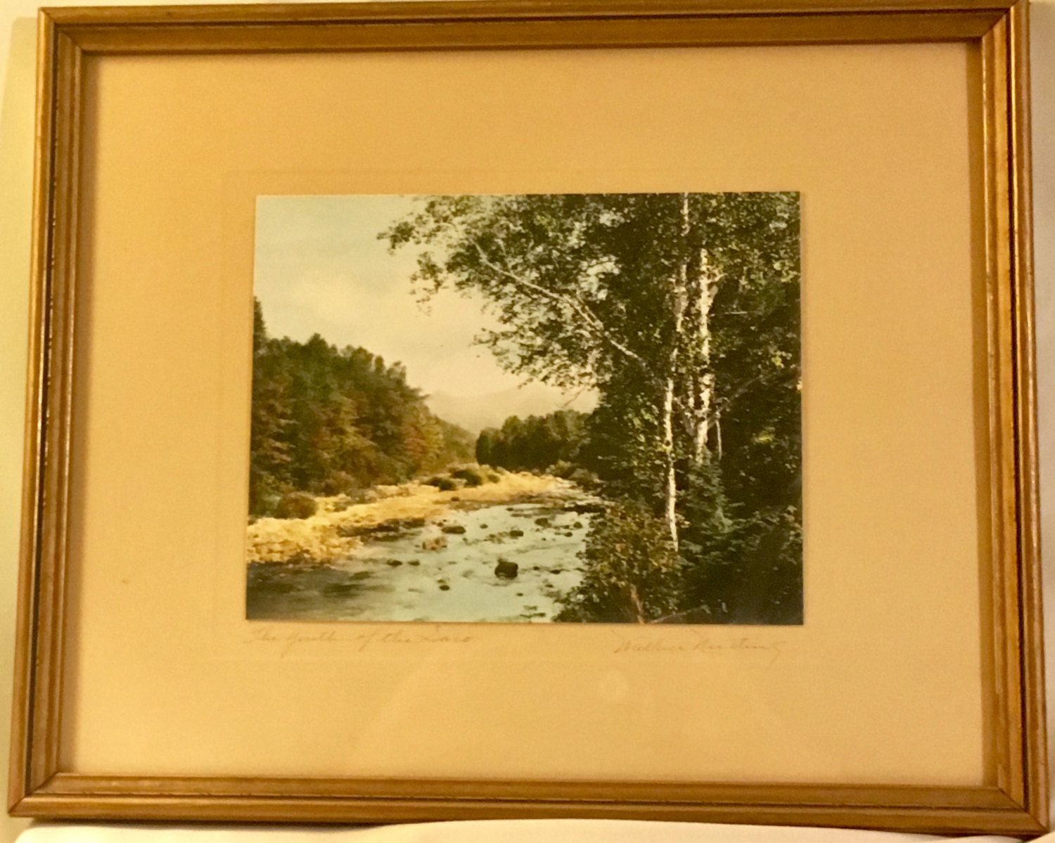 """Wallace Nutting Hand Colored Signed Print - Framed Early 1900's Art- """"The Youth of the Saco"""" by OldSchoolUpcycles on Etsy"""