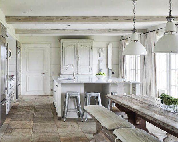 Cocinas rústicas y blancas | Mesa de madera, Rusticas y Madera