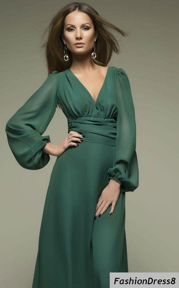 Women's Dark Green  Long Sleeve Cut Out  Plus Size Evening Chiffon  Maxi Dress