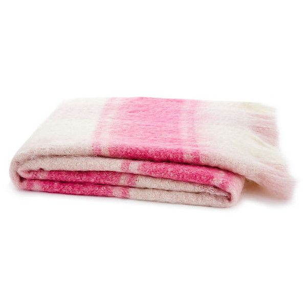 Striped Mohair-Blended Throw, Pink/Cream (130 CAD) ❤ liked on Polyvore featuring home, bed & bath, bedding, blankets, home decor, pink, throws, cream throw blanket, mohair blanket and plaid throw