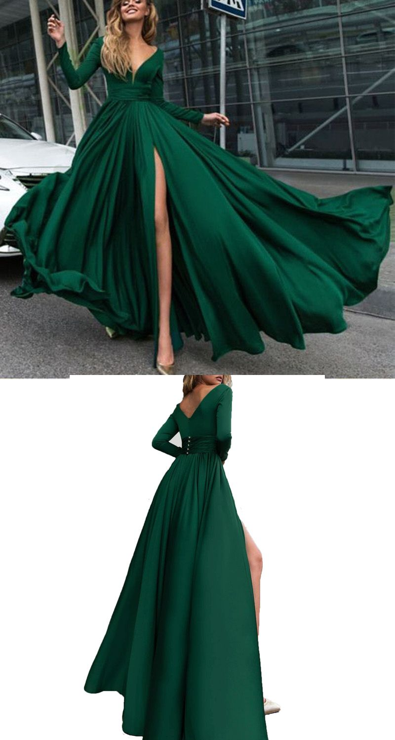 Elegant V Neck Dark Green Flowing Long Prom Dresses With Sleeves Pl2140 With Images Prom Dresses With Sleeves Boho Prom Dress Dark Green Prom Dresses [ 1498 x 800 Pixel ]