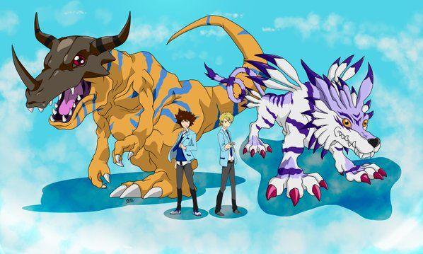 Bello Fanart De Tai Y Matt Con Greymon Y Garurumon Digimon Adventure Tri Digimon Adventure Digimon